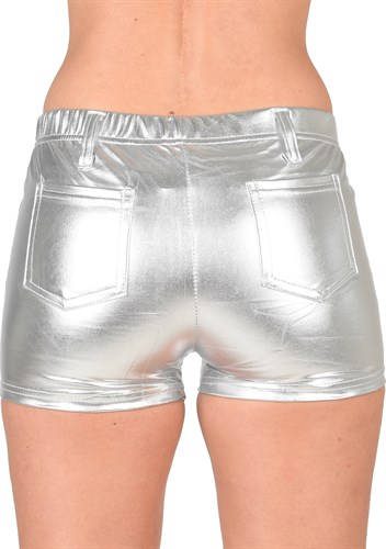 Hotpants zilver latex