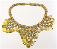 Coin necklace Bolly gold/turquoise