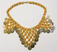 Coin necklace Bolly gold/red