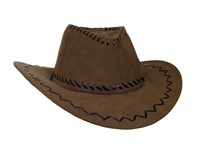 Cowboy hat, brown suedette  size 59