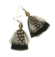 Feather earrings black/white