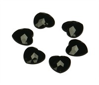 Strass heart black 24 pcs (16 mm)