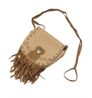 Leather bag beige (14x14x4 cm)
