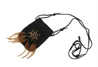 Necklace small bag black (8x6 cm)