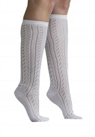 Traditional knee socks Oktoberfest ladies 100% cotton white