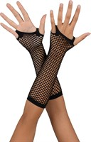 Net gloves long black