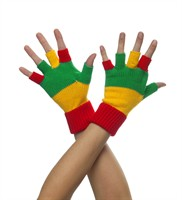 Half-finger gloves red/yellow/green
