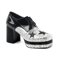 Disco shoes men silver with black stars