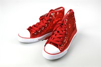 Sequins  canvas shoes red
