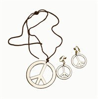 Peace necklace + earring silver (Ø=3,5 and 7 cm)