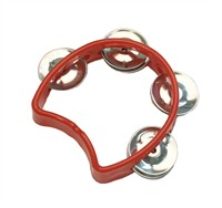 Tambourine 1/2 circle red, per piece (13x11 cm)