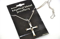 Necklace with cross, silver (7x5 cm)