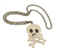 Necklace skull and crossbones white Halloween (8x6 cm)