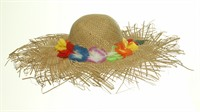 Straw hat Hawaii flowers, one size (H=12, B=50 cm)