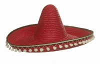 Sombrero rood m. pompons, one size (H=21, B=50 cm)