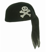 Pirate´s headscarf black, one size (H=9 cm)