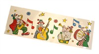 4 music clowns window sticker (66x23 cm)