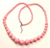 Necklace 70s glass bead pink