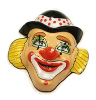 Muurdecoratie clown bolhoed (28x25 cm)