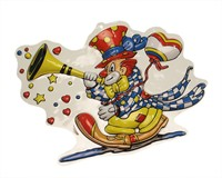 Wall decoration clown & trumpet 40 x 30 cm
