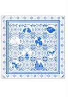 Scarf blue Delft pattern