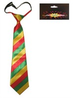 Tie red/gold/green striped