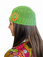 Crochet hat green hippie