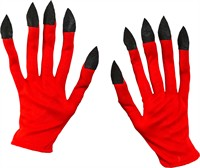 Gloves devil red long fingers