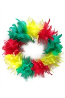 Wreath red/yellow/green feathers 30 cm