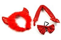 Devil set headband, bow tie, tail