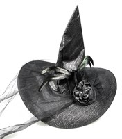 Witch hat black with flowers