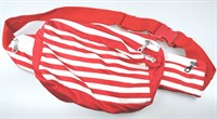 Striped hip bag red / white