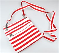 Striped shoulder bag red / white