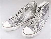 Shoes silver sequins