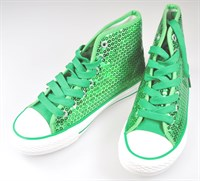 Shoes green sequins