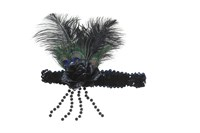 Headband black rose & peacock feathers