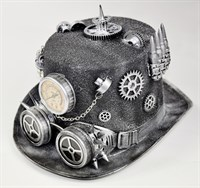 Top hat steampunk silver + goggles