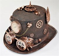 Top hat steampunk copper + goggles