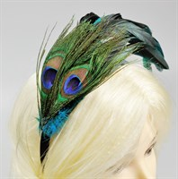 Hair circlet peacock feathers