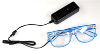 Glasses with LEDs blue (incl.Batt.)