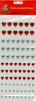 Sticker hearts red / silver assorted sizes
