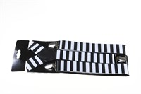 Suspenders black / white striped