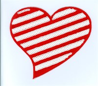 Hotfix ironing application heart  red/white 10cm