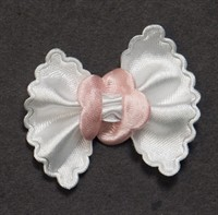 Bow tie white/pink (small) B. 5cm