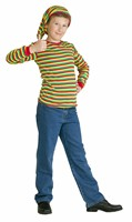 Red/yellow/green striped jumper