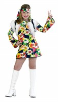 Hippie-Girl Flower Power (dress, waistcoat, hair ribbon)