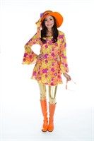 Kleid Flower Power Orange (Kleid,Stirnband)