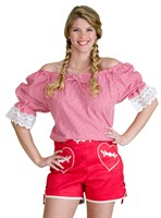 Tiroler blouse oktoberfeest rood/wit