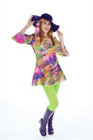 Flower Power jurk Disco  (jurk,hoofdband)