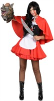 Little Red Riding Hood dress, apron, cape with Cap